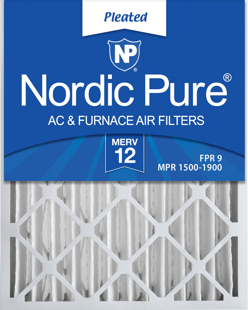 16x25x4 (3 5/8) Pleated MERV 12 Air Filters 1 Pack