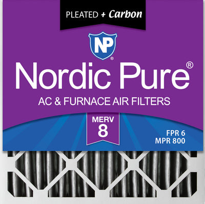 20x20x4 (3 5/8) Furnace Air Filters MERV 8 Pleated Plus Carbon 6 Pack