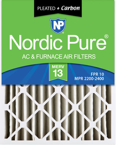 16x25x4 (3 5/8) Pleated Air Filters MERV 13 Plus Carbon 2 Pack