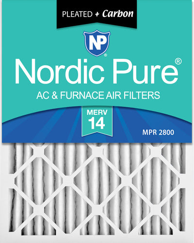 18x25x2 Pleated Air Filters MERV 14 Plus Carbon 3 Pack