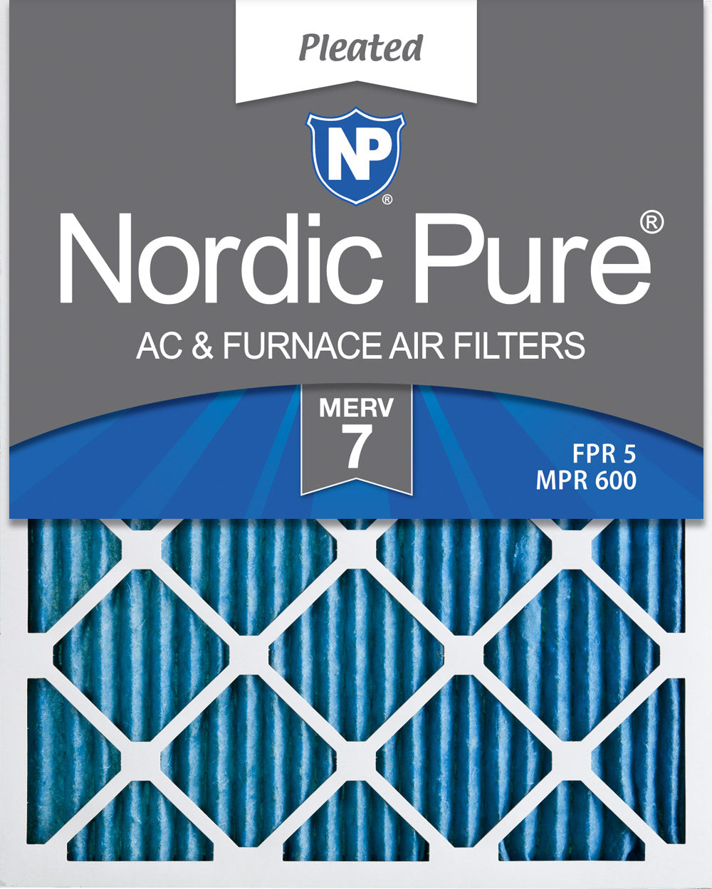 Box of 3 Nordic Pure 16x20x2 MERV 10 Pleated AC Furnace Air Filter