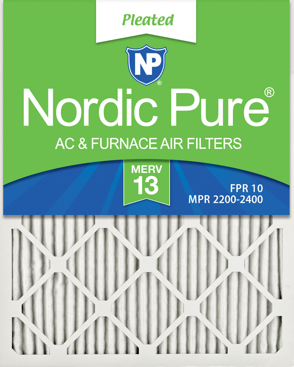 16x25x1 Pleated MERV 13 Air Filters 12 Pack