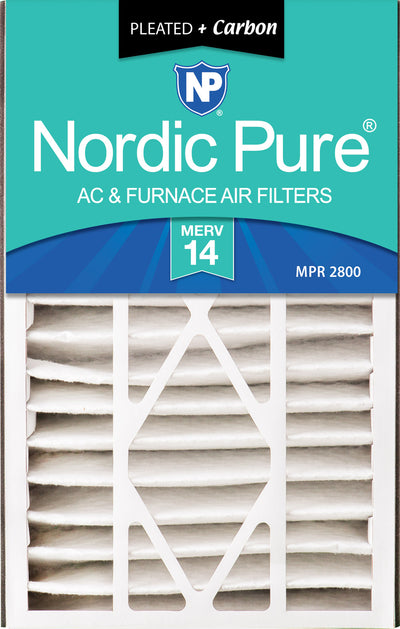 Air Bear 16x25x5 (4 7/8) Air Filter Replacement MERV 14 Plus Carbon 4 Pack