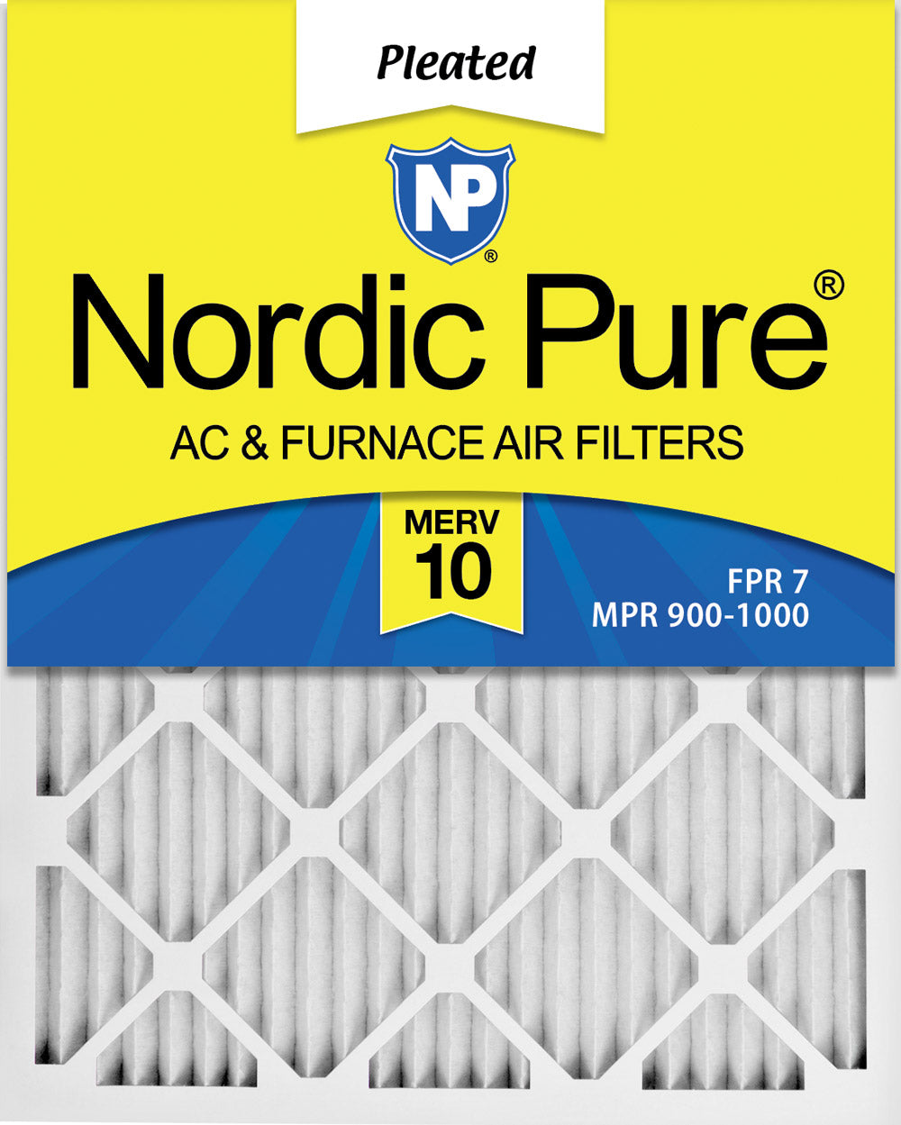 16x25x1 Pleated MERV 10 Air Filters 3 Pack