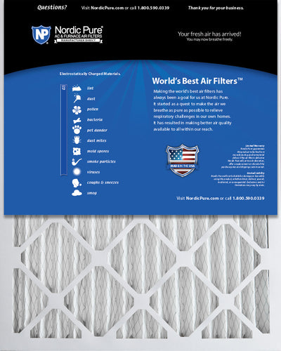 16x25x2 Pleated MERV 12 Air Filters 3 Pack