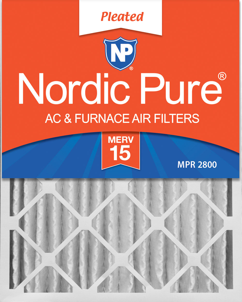 16x20x4 (3 5/8) Pleated MERV 15 Air Filters 1 Pack