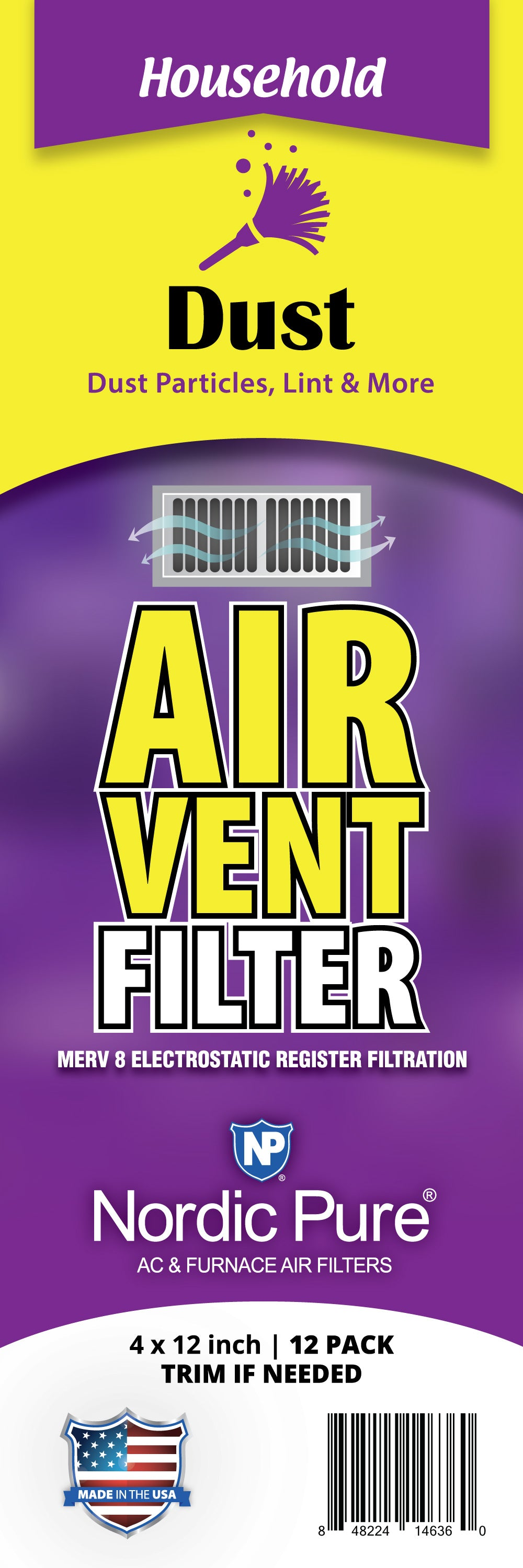 Dust Reducing Air Vent Filters 4x12 (Register Vent Filters) 1 Pack of 12