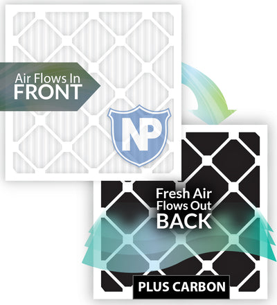 16x25x4 (3 5/8) Pleated Air Filters MERV 14 Plus Carbon 2 Pack