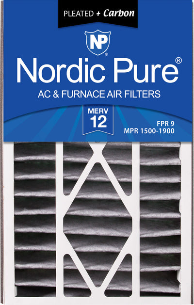 Air Bear 16x25x5 (4 7/8) Air Filter Replacement MERV 12 Pleated Plus Carbon 2 Pack