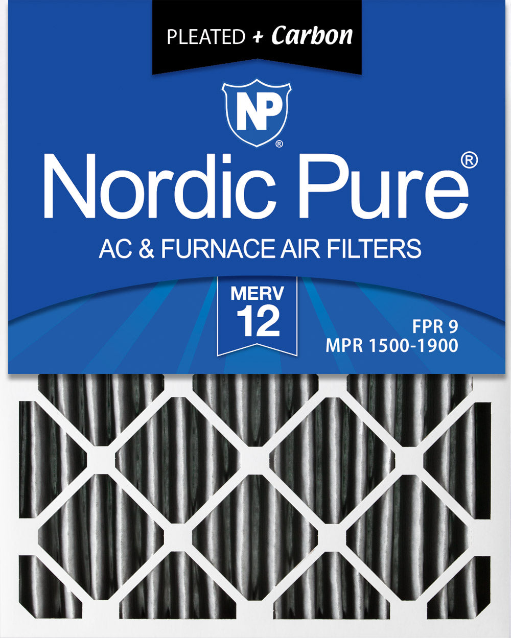 16x20x4 (3 5/8) Furnace Air Filters MERV 12 Pleated Plus Carbon 2 Pack