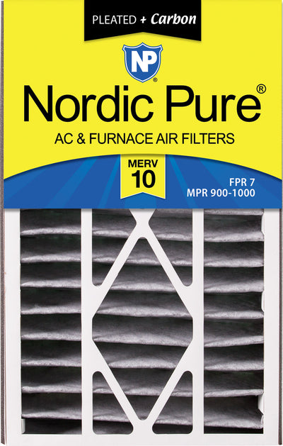 Air Bear 16x25x5 (4 7/8) Air Filter Replacement MERV 10 Pleated Plus Carbon 2 Pack
