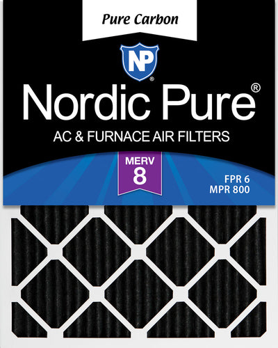14x22x1 Exact MERV 8 Pure Carbon Pleated Odor Reduction AC Furnace Air Filters 12 Pack