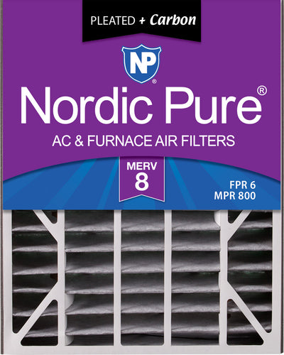 Air Bear 20x25x5 (4 7/8) Air Filter Replacement MERV 8 Pleated Plus Carbon 2 Pack