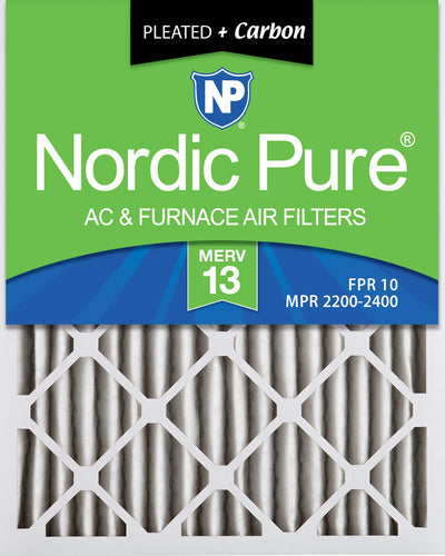 16x25x2 Pleated Air Filters MERV 13 Plus Carbon 12 Pack