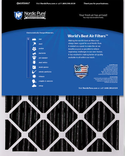 20x25x5 (4 3/8) Honeywell/Lennox Replacement Air Filters MERV 12 Pleated Plus Carbon 4 Pack