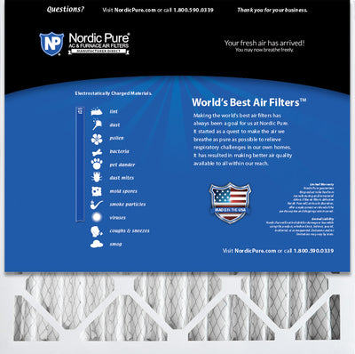 16x16x2 Pleated MERV 12 Air Filters 3 Pack