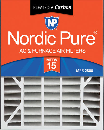 Air Bear 20x25x5 (4 7/8) Air Filter Replacement MERV 15 Plus Carbon 4 Pack