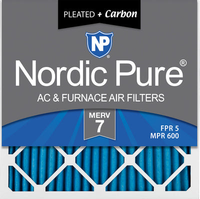 10x10x1 Pleated Air Filters MERV 7 Plus Carbon 12 Pack