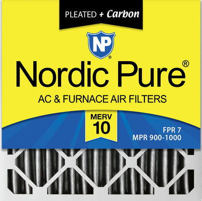 20x20x4 (3 5/8) Furnace Air Filters MERV 10 Pleated Plus Carbon 2 Pack