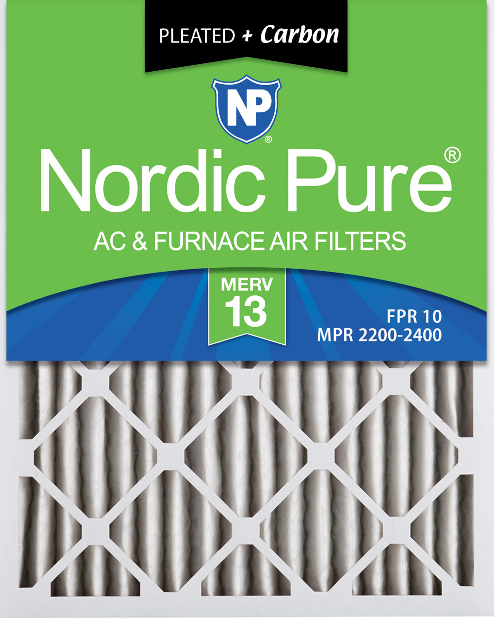 14x20x2 Pleated Air Filters MERV 13 Plus Carbon 3 Pack