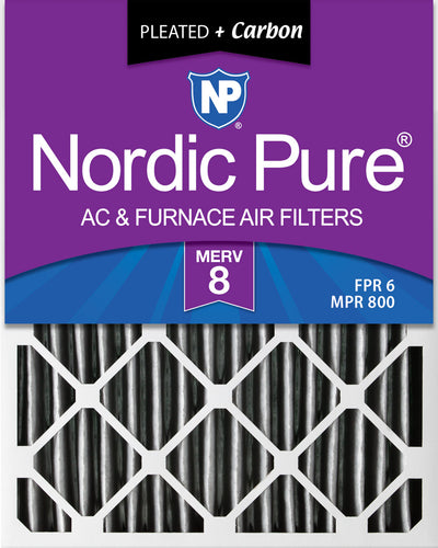 20x25x2 Furnace Air Filters MERV 8 Pleated Plus Carbon 12 Pack
