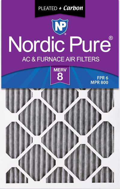 16x25x1 Furnace Air Filters MERV 8 Pleated Plus Carbon 12 Pack