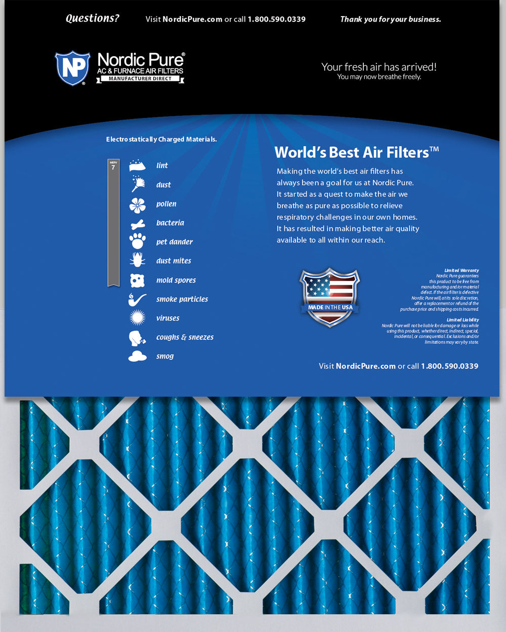 Nordic Pure 14x18x1 MERV 10 Pleated AC Furnace Air Filters 3 Pack
