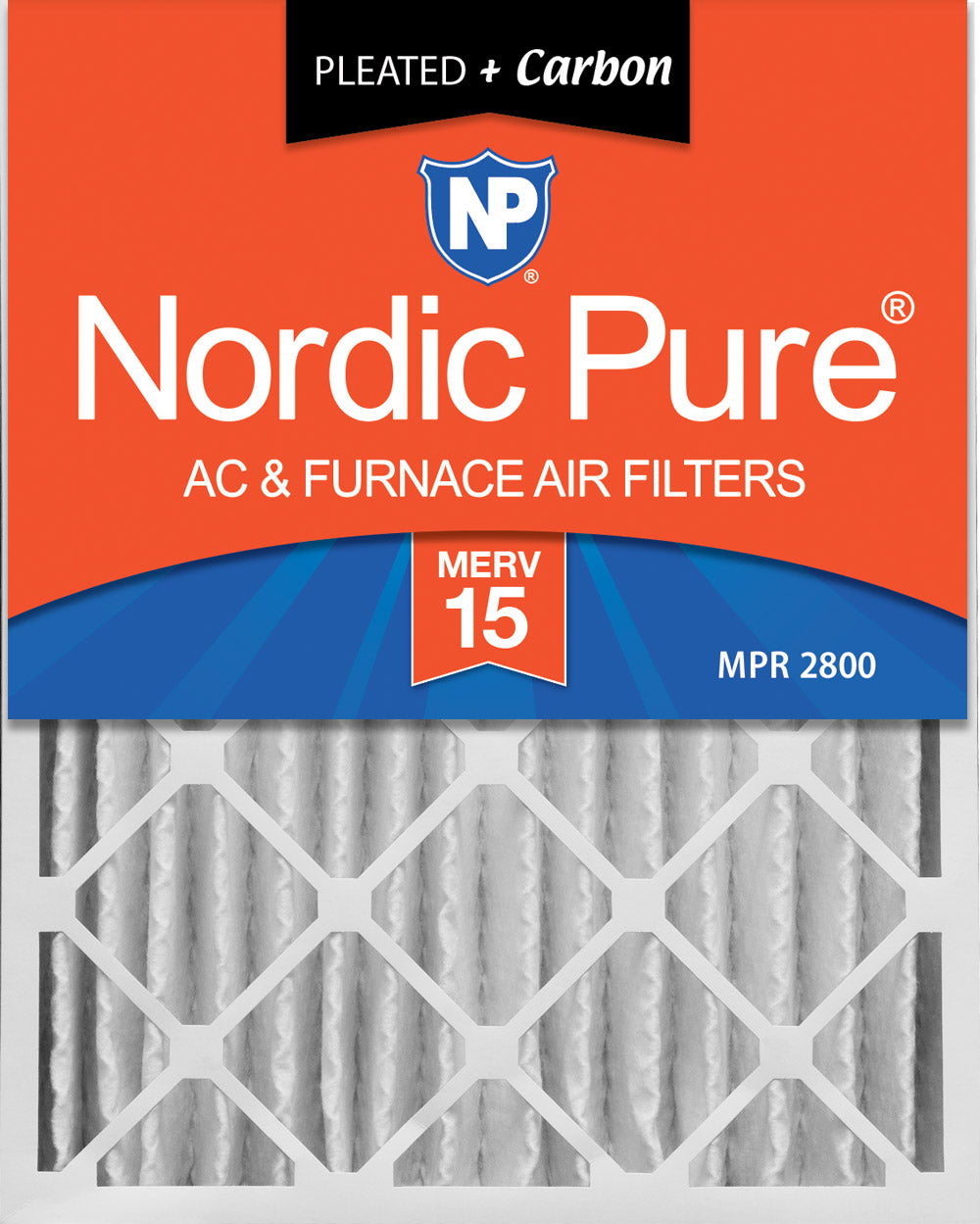 16x20x4 (3 5/8) Pleated Air Filters MERV 15 Plus Carbon 2 Pack