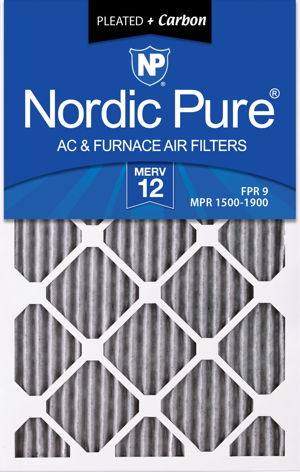 Nordic Pure 16x20x1 MERV 8 Pleated AC Furnace Air Filters 12 Pack