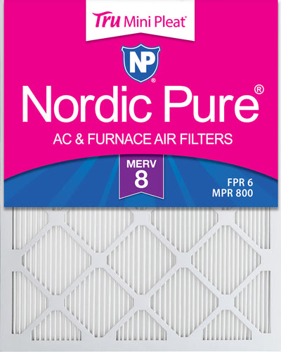 20x25x1 Tru Mini Pleat MERV 8 AC Furnace Air Filters 6 Pack