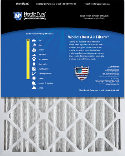 16x25x4 (3 5/8) Pleated MERV 10 Air Filters 2 Pack