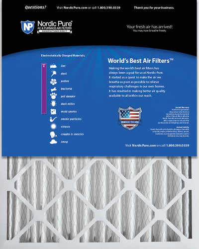 16x25x4 (3 5/8) Pleated MERV 8 Air Filters 2 Pack