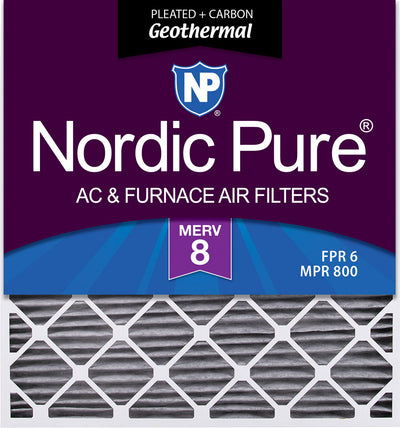 30x36x2 Geothermal MERV 8 Pleated Plus Carbon AC Furnace Air Filters 3 Pack