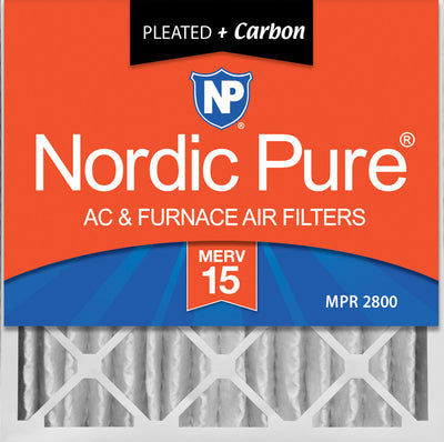 20x20x4 (3 5/8) Pleated Air Filters MERV 15 Plus Carbon 6 Pack