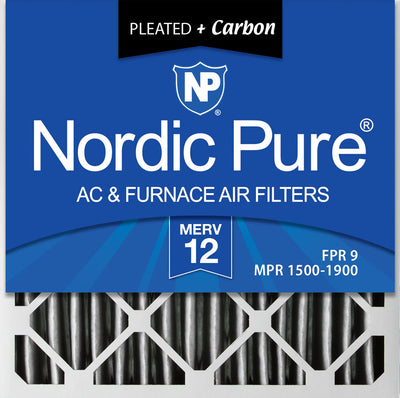 20x20x4 (3 5/8) Furnace Air Filters MERV 12 Pleated Plus Carbon 2 Pack