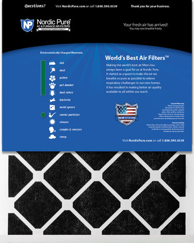 20x25x1 Pure Green Plus Carbon Eco-Friendly AC Furnace Air Filters 6 Pack