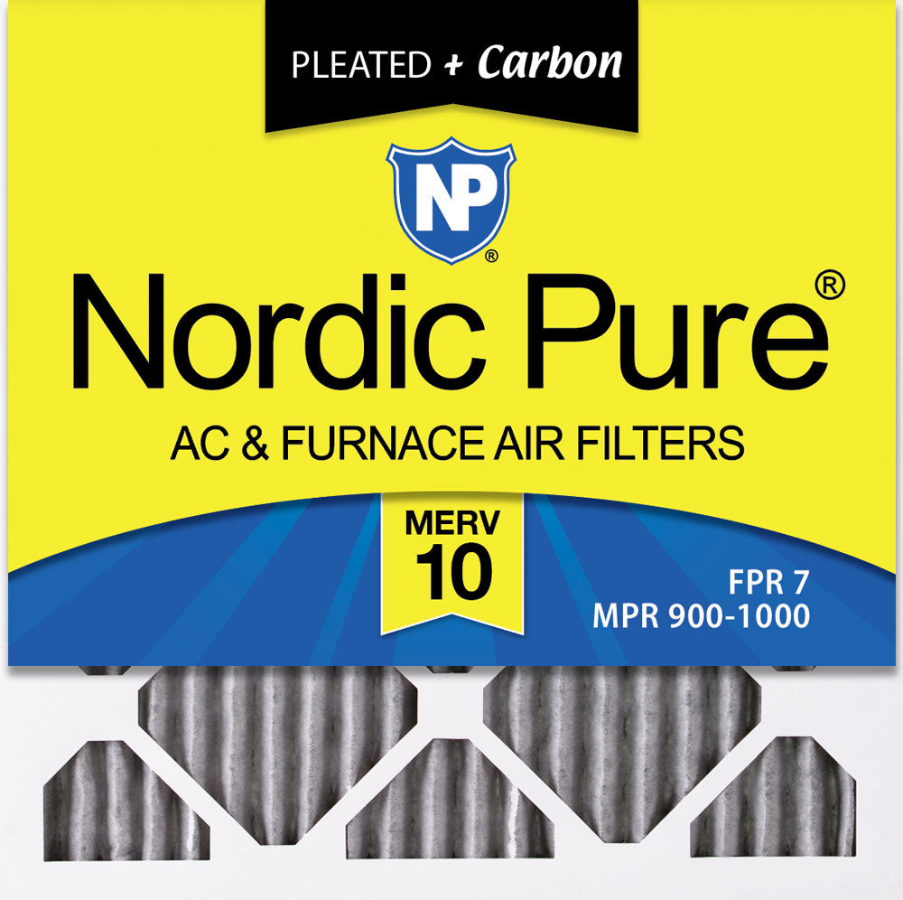 10x10x1 Furnace Air Filters MERV 10 Pleated Plus Carbon 3 Pack