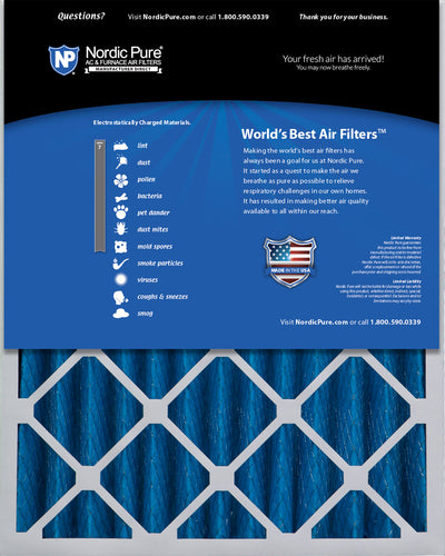 16x25x4 (3 5/8) Pleated MERV 7 Air Filters 2 Pack