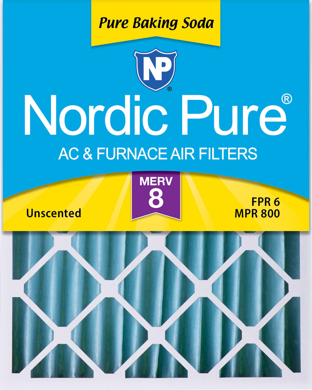 16x20x4 (3 5/8) Pure Baking Soda Odor Deodorizing AC Air Filters 1 Pack