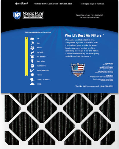 16x25x4 (3 5/8) Furnace Air Filters MERV 10 Pleated Plus Carbon 6 Pack