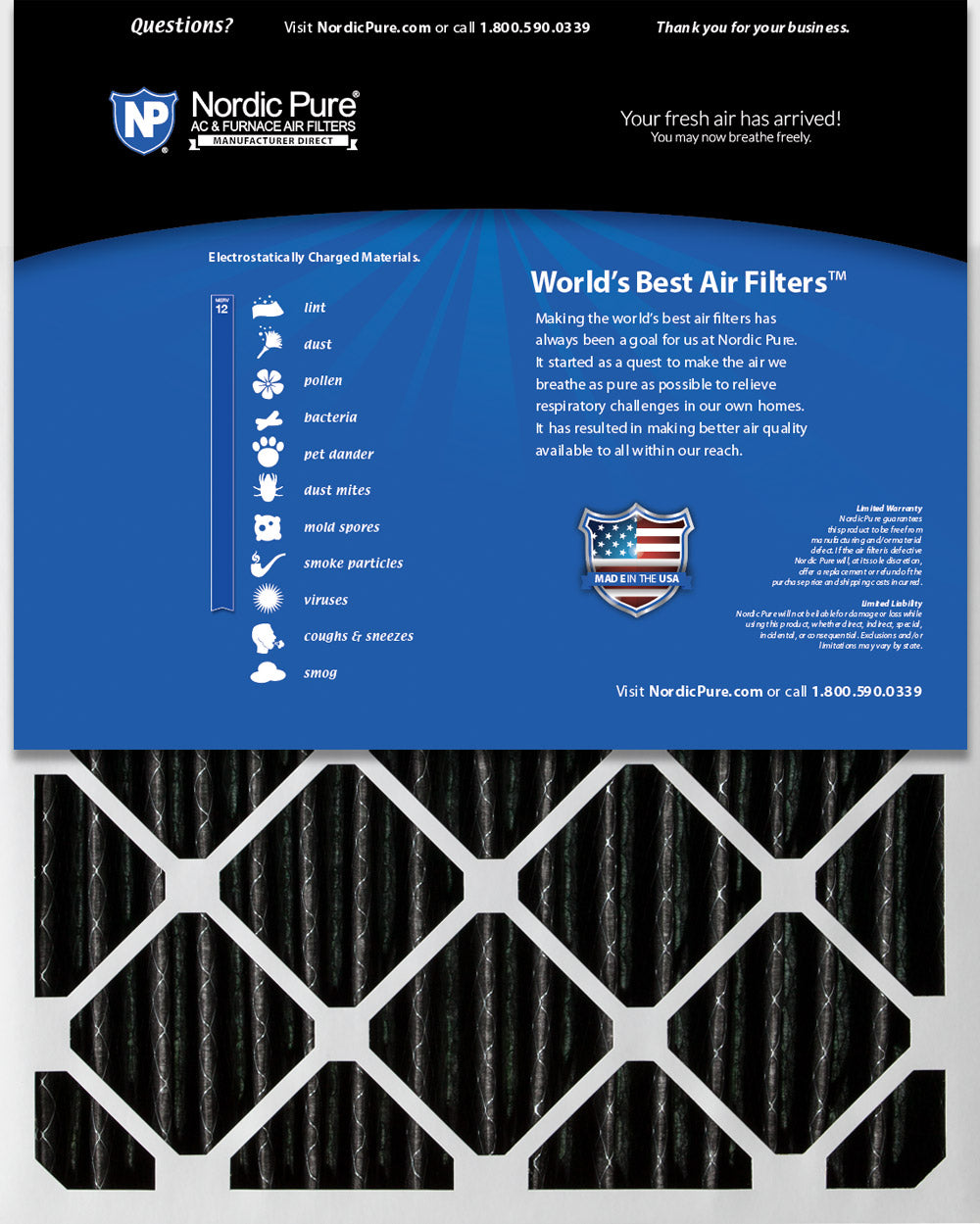 Nordic Pure 10x20x1 MERV 13 Plus Carbon Pleated AC Furnace Air Filters 2 Pack 2 Piece