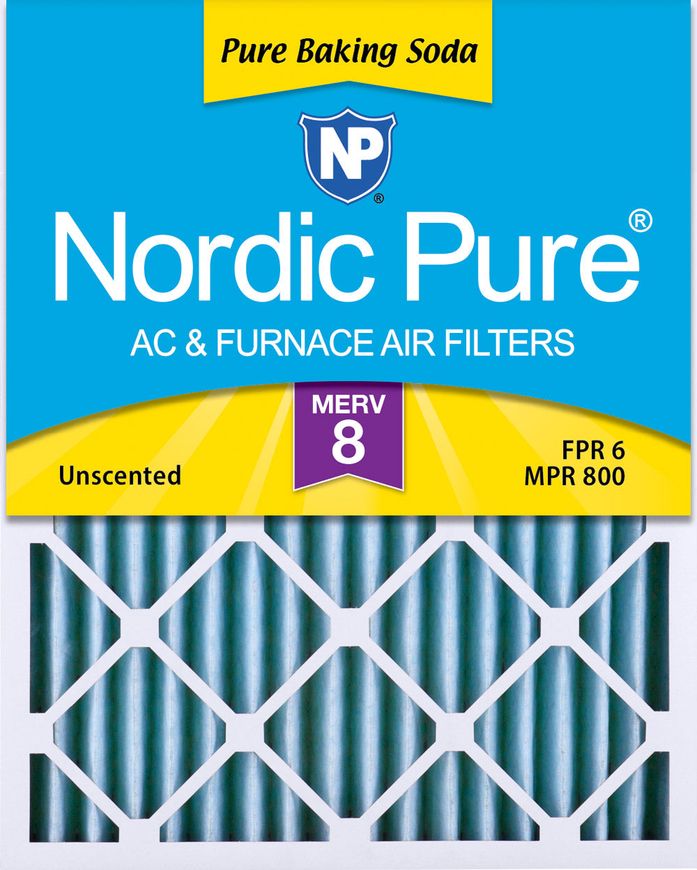 14x20x2 Pure Baking Soda Odor Deodorizing AC Air Filters 3 Pack