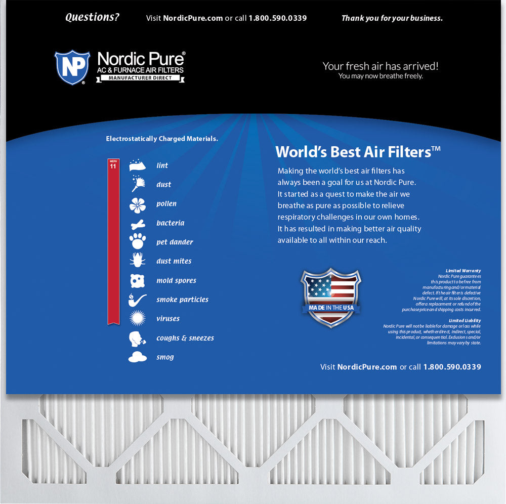 Nordic Pure 16x16x1 MERV 12 Tru Mini Pleat AC Furnace Air Filters 4 Pack