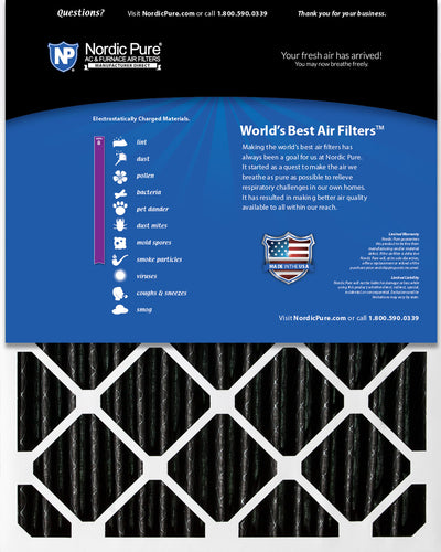 16x25x4 (3 5/8) Furnace Air Filters MERV 8 Pleated Plus Carbon 2 Pack