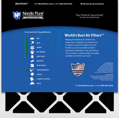 Nordic Pure 24x24x1 Pure Green Plus Carbon Eco-Friendly AC Furnace Air Filters 6 Pack