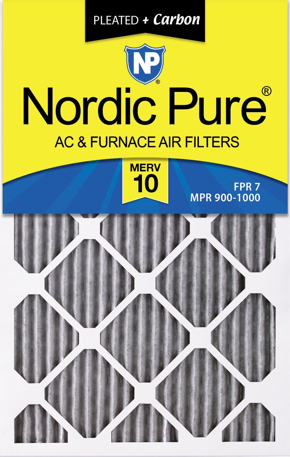 10x12x1 Exact MERV 10 Plus Carbon AC Furnace Filters 6 Pack