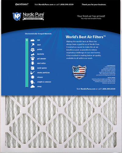 16x25x1 Pleated MERV 14 Air Filters 6 Pack
