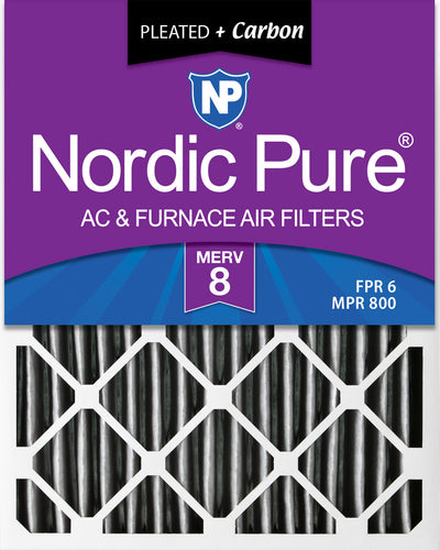 20x25x4 (3 5/8) Furnace Air Filters MERV 8 Pleated Plus Carbon 2 Pack
