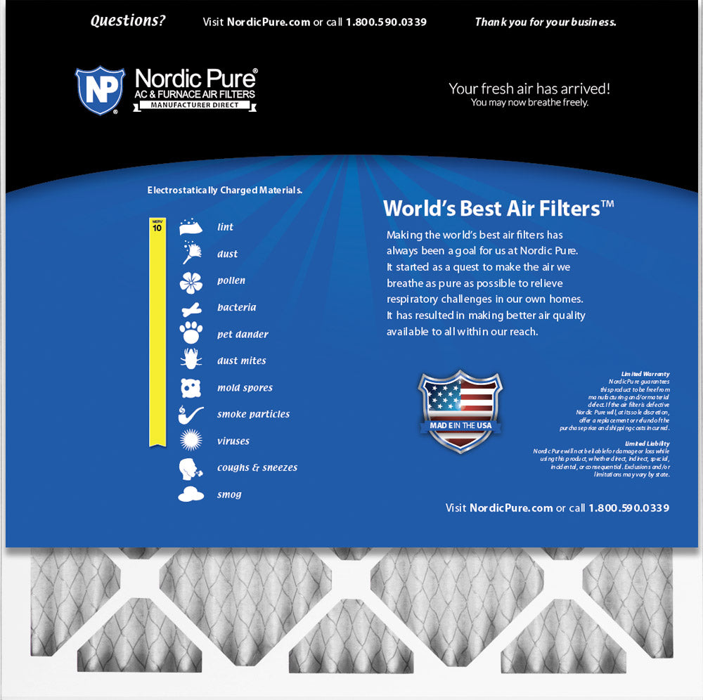 Nordic Pure 20x25x1 MERV 10 Pleated AC Furnace Air Filters 2 Pack