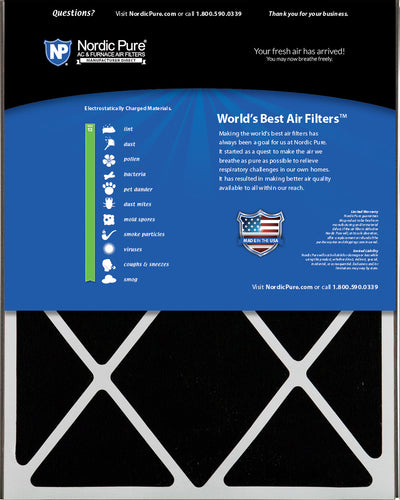 Air Bear 16x25x5 (4 7/8) Air Filter Replacement MERV 13 Plus Carbon 1 Pack